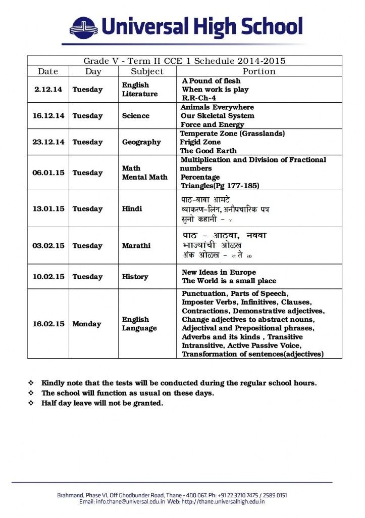 Grade V Term II CCE 1 Schedule-page-001