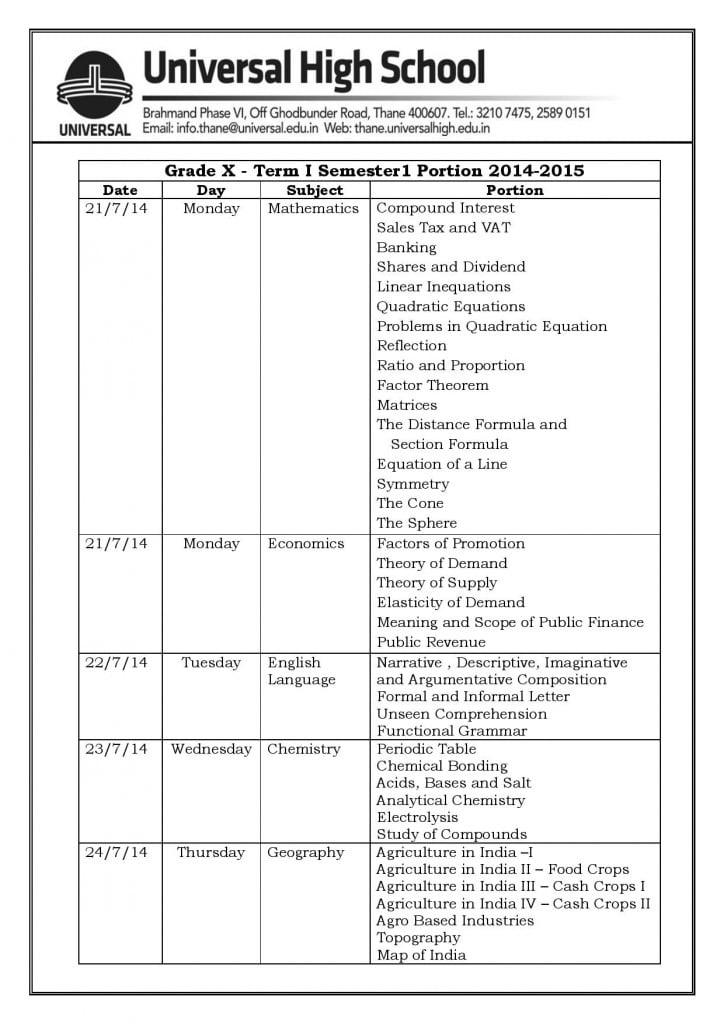 Grade X – Semester1 Portion 2014-2015