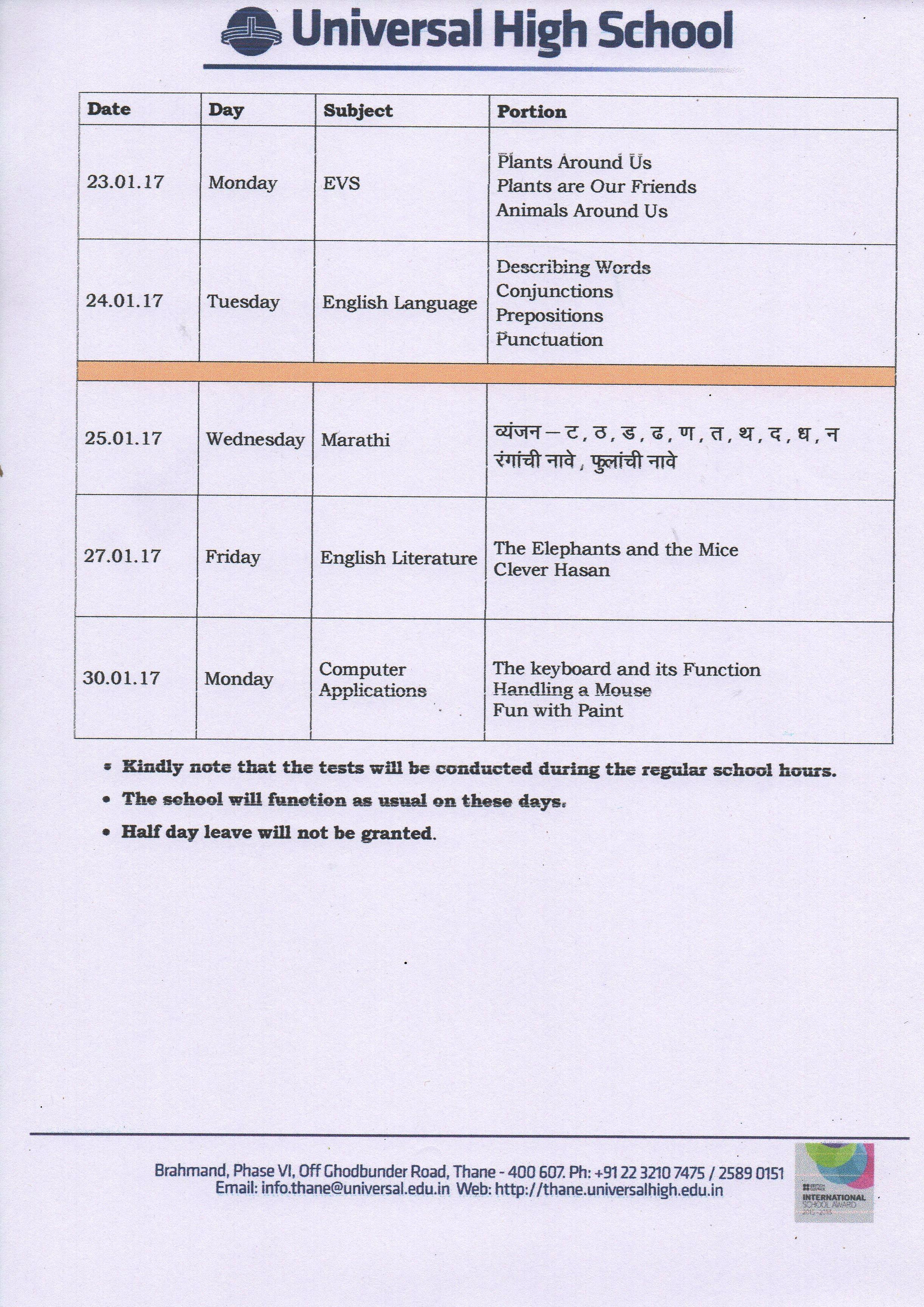 Grade II Term II CCE 3 Schedule 2016 – 2017